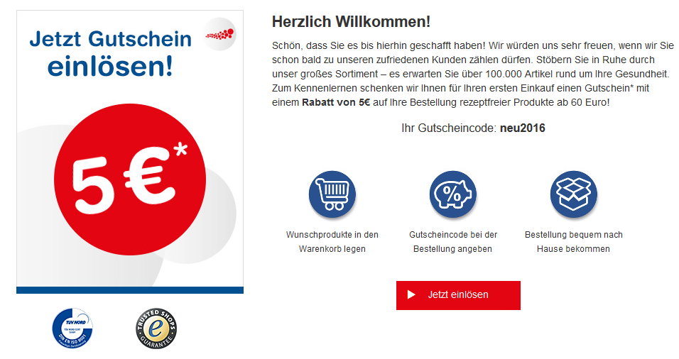 Shop Apotheke - Gutscheincode der Shop Apotheke eingeben ...