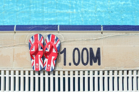Bade-Flip-Flops am Beckenrand eines Pools | rabattcoupons