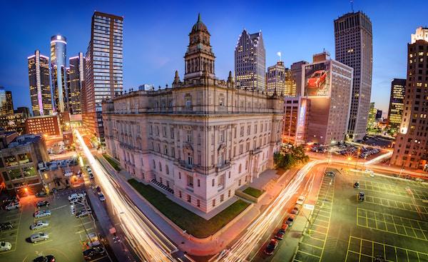 Die Innenstadt Detroits   Rabattcoupons